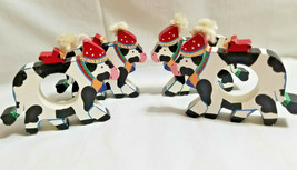 Wood Cows Napkin Holder Rings Dinning Table Decor Set of 4 White - $19.99