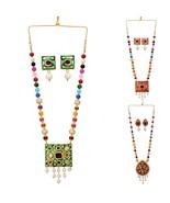 Ethnic Indian Bridal Meenakari Multigems Pearls Jaipur Necklace Jewelry Set - $17.90
