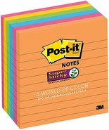 Post-it Notes Super Sticky, Rio de Janeiro Colors Lined 4 x 4 90-Sheet 6... - $14.15