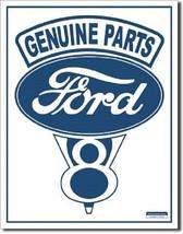 Ford Genuine V8 Car Dealer Logo Retro Weathered Wall Decor Metal Tin Sign New - $15.99