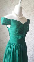 Emerald green Retro Off Shoulder Long Prom Dress Womens Green Maxi Evening Dress image 7