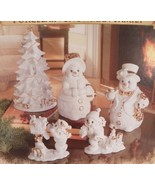 2000 Grandeur Noel Porcelain SNOWMAN FAMILY 5-pc Set EUC in Box - $79.15