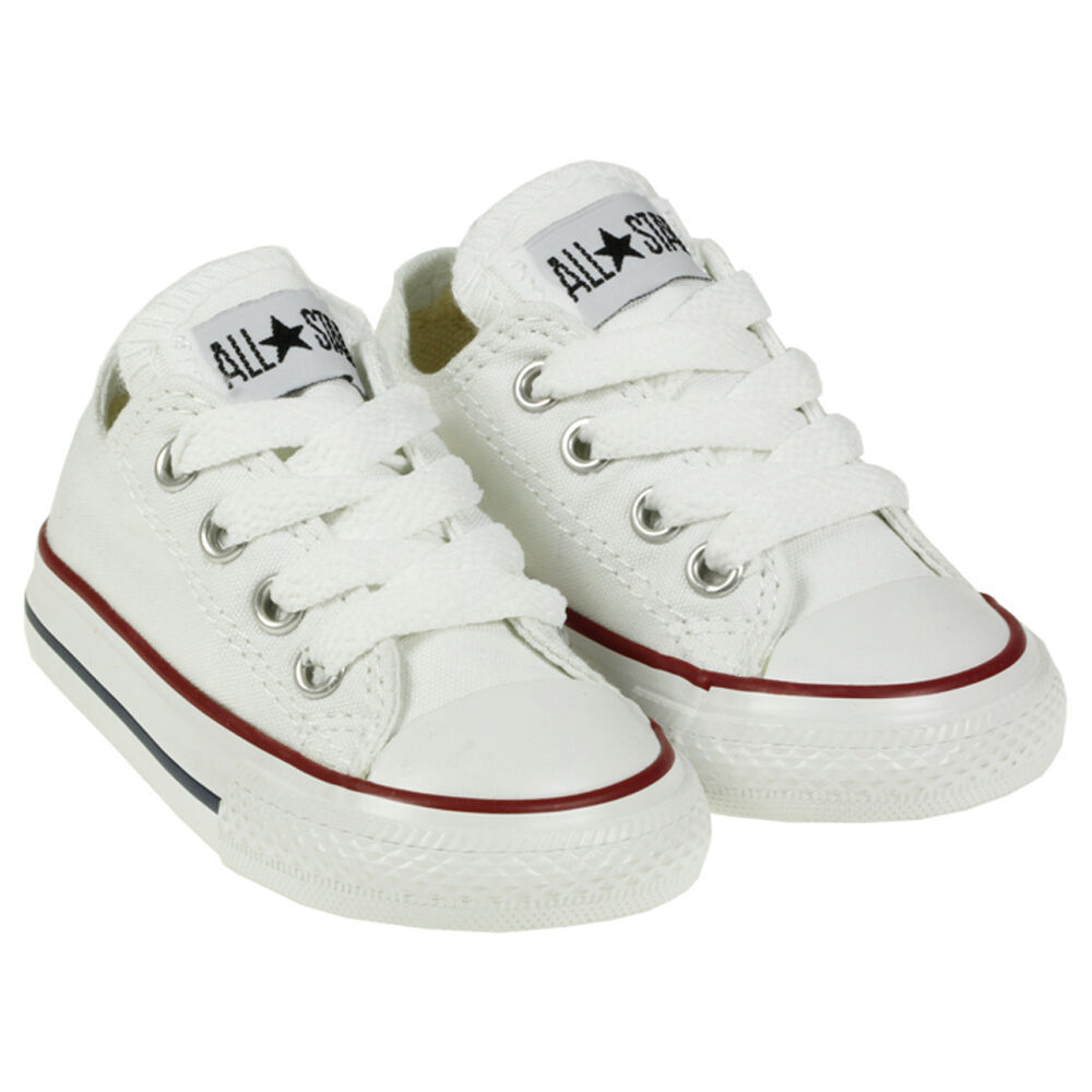 Converse All Star Chuck OX 7J256 Canvas White Kids Baby Toddler Shoes