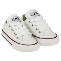 Converse All Star Chuck OX 7J256 Canvas White Kids Baby Toddler Shoes image 1