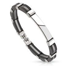 Stainless Steel Dome Centered Bracelet with Matte Black Rubber Links Men... - $24.99