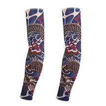 PANDA SUPERSTORE 1-Pair Flying Dragon Fake Tattoo Sun Sleeves Body Art Arm Cover
