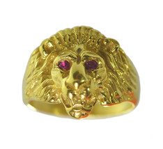 24K YELLOW GOLD PLATED Lion Ring King of the jungle ruby eyes Beast mode... - $44.73
