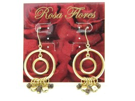 New Old Stock ROSA FLORES Round Gold Tone Metal Faux Wood Dangle Earrings - $19.80
