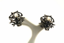 Vintage Round Branch Design Onyx Stud Earrings 925 Sterling ER 1013 - $24.99