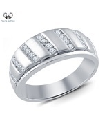 14k White Gold Plated 925 Silver Engagement Women's Band Ring Round Cut ... - ₨5,411.61 INR