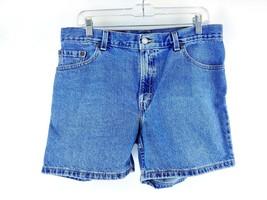 VTG Women's 555 Medium Wash Denim Guys Fit High Rise Jean Shorts Sz 12 Mis - $34.64