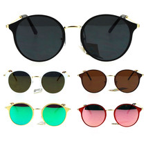 Womens Retro Flat Panel Color Mirror Lens Round Wire Arm Sunglasses - $12.95