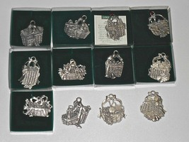 Lot of 12 LONGABERGER Pewter Basket Tie-Ons Ornaments 1995 - 2006 - $24.75