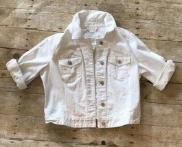 Ann Taylor Loft White Jean Jacket Size 6 Used Rolled Sleeves - $32.71