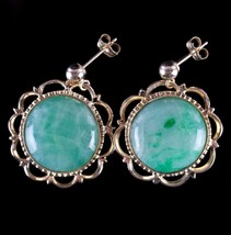 Vintage 1960's 14k Yellow Gold Jade Buttons Converted To Post Earrings - $500.00