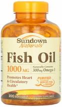 Sundown Naturals 1000mg FISH OIL 300mg Omega-3 heart health 200 Softgels - $9.49