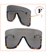 GUCCI STAR 0540 Havana Gold Black Mirrored Mask Rimless Sunglasses GG0540S - $574.20
