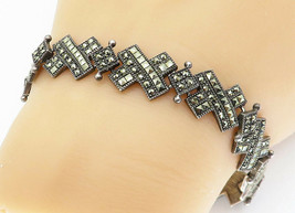 925 Sterling Silver - Vintage Marcasite Decorated X Link Chain Bracelet ... - $60.11