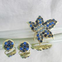 Vintage Sweet Blue Tones Rhinestones 5 Leaf Pin & Round Earrings Clip Go... - $13.49