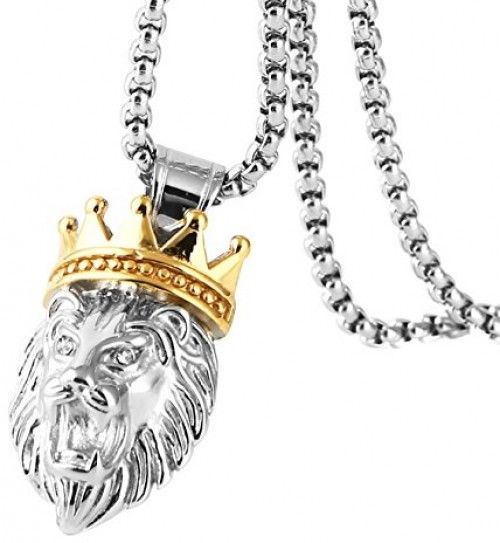 HZMAN Men's Silver Gold Tone Stainless Steel Lion King Pendant Necklace Cable image 2