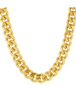 Lifetime Jewelry Cuban Link Chain 9MM, Round, 24K Gold with Inlaid Bronz... - $99.49