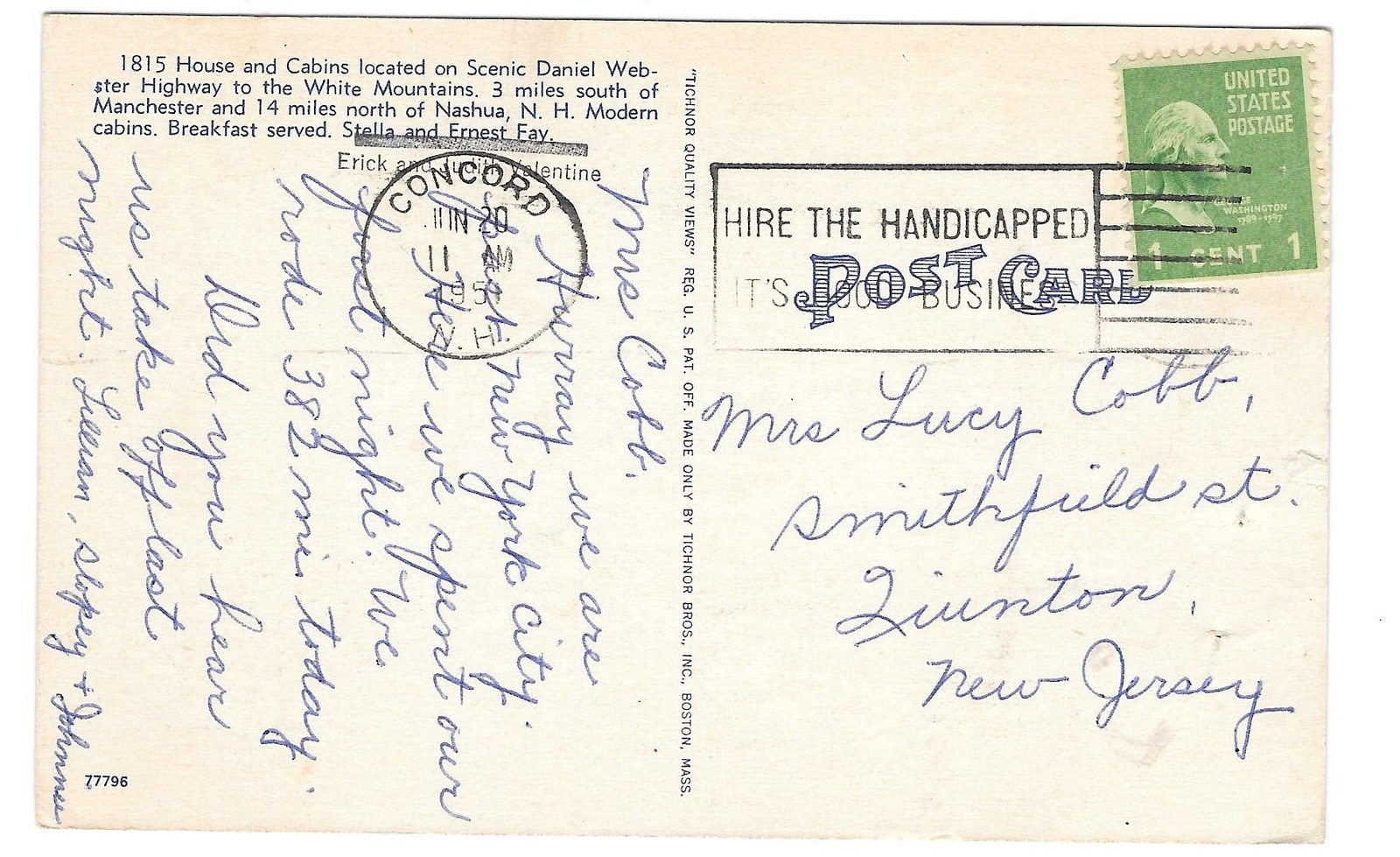 1815 House Motel Reeds Ferry NH Cabins White Mountains Vintage 1951 Postcard