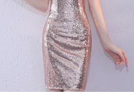 Rose Gold One Shoulder Short Sequin Dress Wedding Bridesmaid Short Sequin Dress image 7