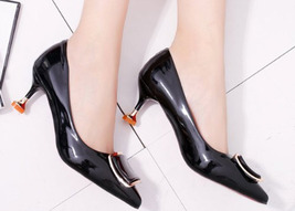 83H036 elegant pointy pump, stable heels, candy color, Size 5-8.5 - $38.80