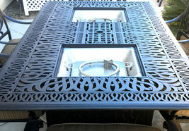 Luxury propane fire pit rectangle outdoor dining set 9 piece cast aluminum patio image 3