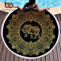 BeddingOutlet Large Round Beach Towel for Adults Woman Mandala Elephant ... - $34.90
