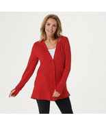 Cuddl Duds Flexwear Button Front Cardigan Classic Red Size M - $24.74