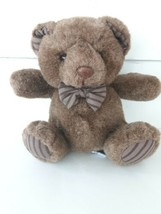 Russ Berrie Plush Brown Teddy Bear OXFORD Striped Bow Tie and Feet - $18.23
