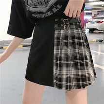Black Navy Red Mini Plaid Skirt Women Street Style Pleated PLAID SKIRT Plus Size image 1