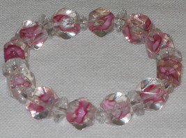 Handcrafted Pink Ice Beaded Stretch Bracelet 6.5 to 7 inches - $4.50