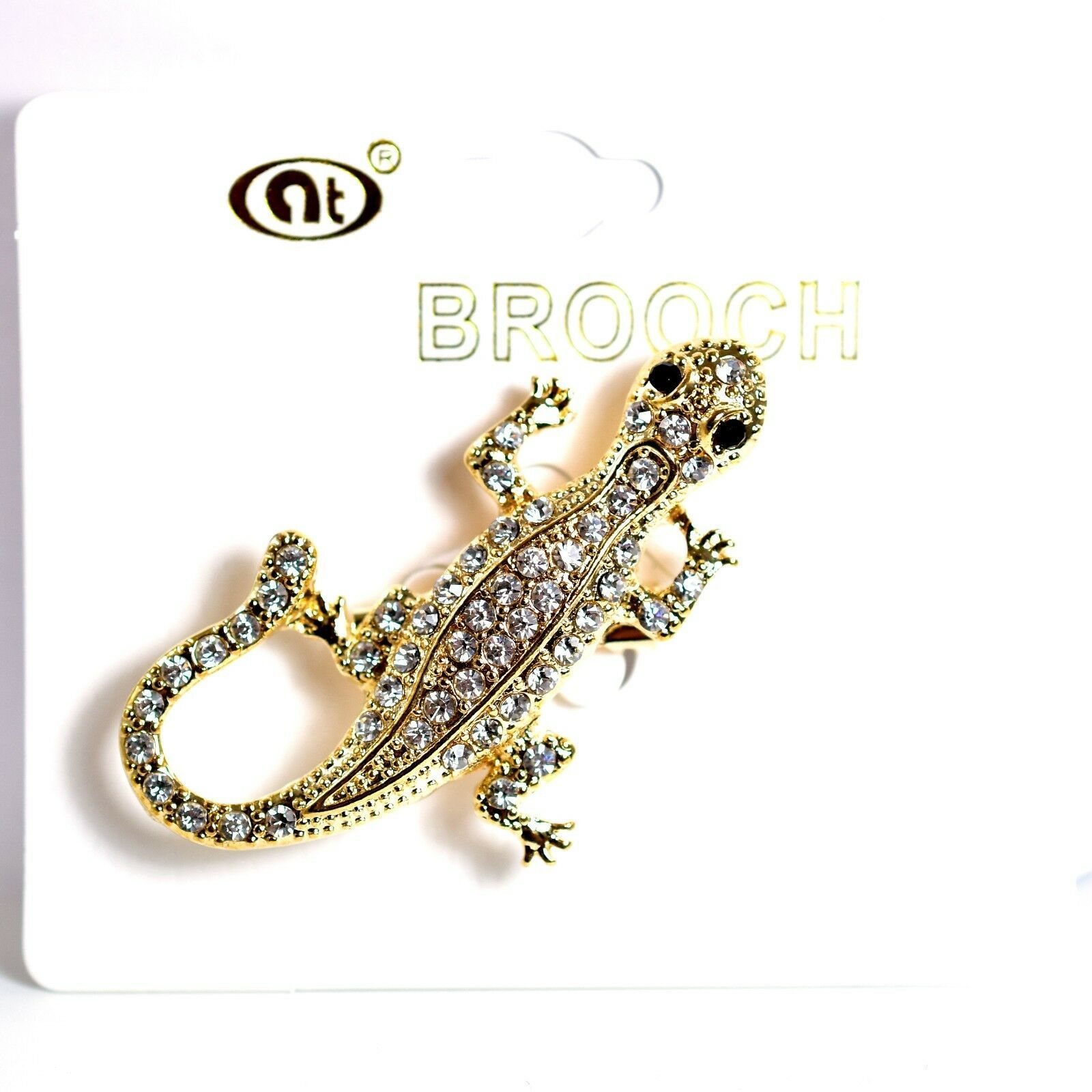 "Gold Tone Pave Crystal Gecko Lizard 2"" Pin Brooch New With Tags"