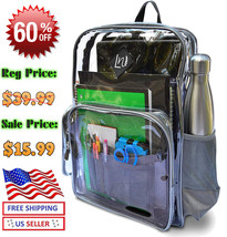 Heavy Duty Clear Backpack Durable Military Nylon - Transparent for School - $21.20 CAD
