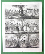 AUSTRALIA Aborigines Tonga Natives Pacific Islands - 1844 Engraving Print - $16.84