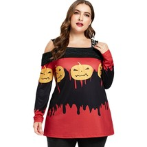 Halloween Plus Size Pumpkin Lamp Cold Shoulder(MULTI 1X) - $22.27