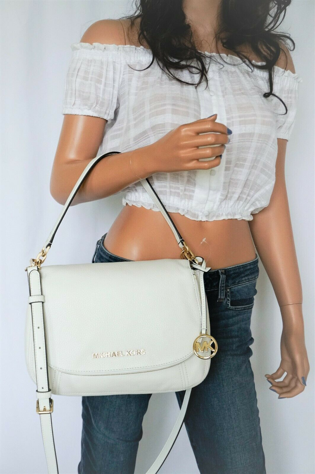 Primary image for Michael Kors Bedford M Convertible Pebbled Leather Shoulder Bag Optic White/Gold
