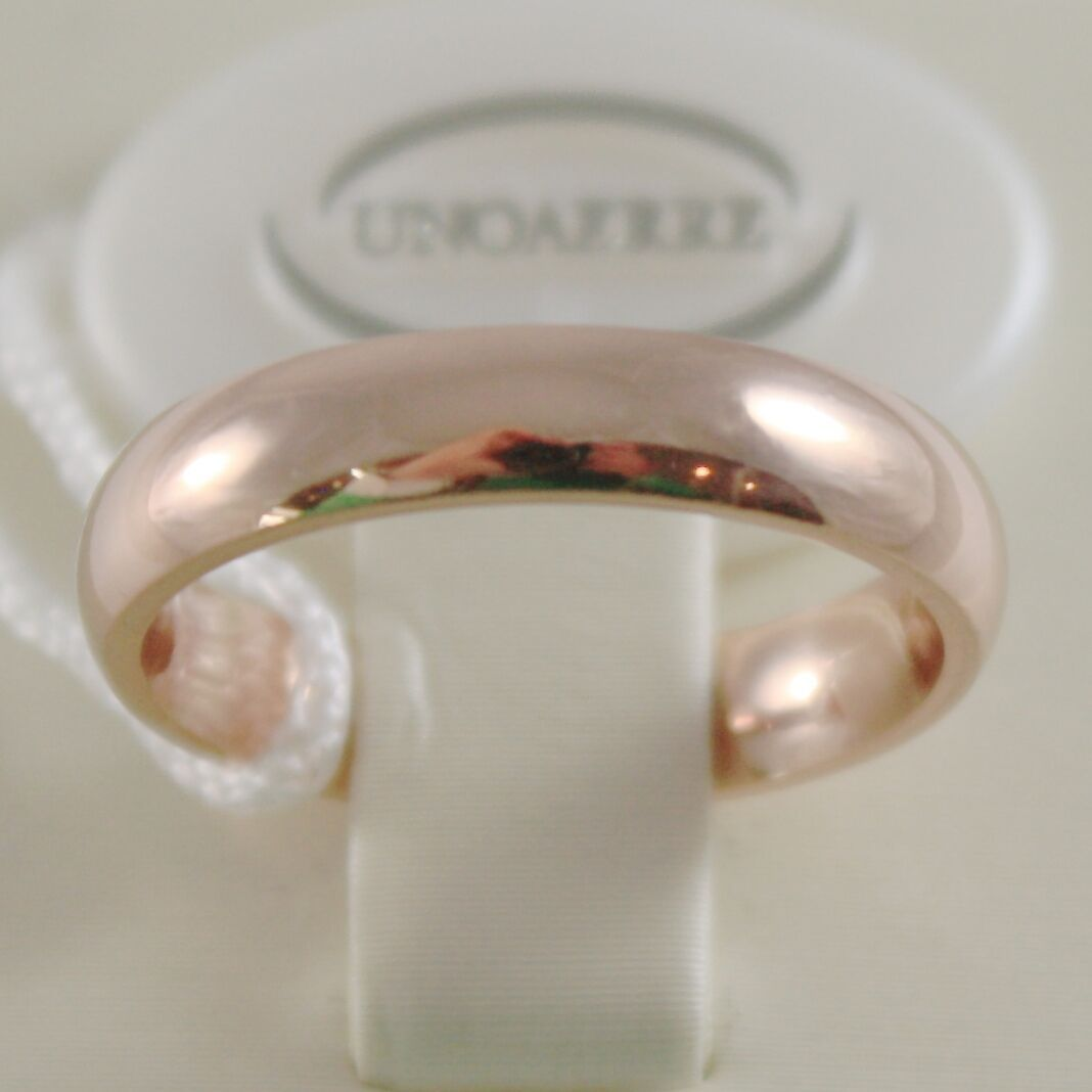 18K ROSE GOLD WEDDING BAND UNOAERRE COMFORT RING MARRIAGE 4 MM, MADE IN ITALY
