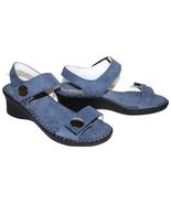 ✿ LA PLUME Abigail Blue Italian Nubuck Leather Anti-Shock Wedge Sandal 8... - $46.54