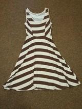 SANGRIA Dress Size Medium Womens Tan Brown Striped A-Line Sleeveless - $15.82