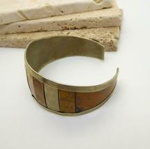 Vintage Handcrafted Mixed Metal Silver Copper Brass Embossed Cuff Bracelet Z33 image 3