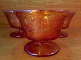 Vintage 3 pc. Carnival Glass Sherbet Ice Cream Dish Set image 4