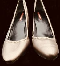 Women's PRADA Dark Grey Calf Leather Thin Heel Pump Shoes Size 391/2 image 4