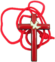 RED ENAMELED WOODEN CROSS WITH WHITE HOLY DOVE CONFIRMATION PENDANT NECK... - $21.72