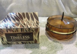 VINTAGE AVON COLLECTIBLE TIMELESS  BEAUTY DUSTCONTAINER, AMBER COLORED L... - $4.50