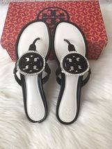 Size 6.5M NIB Tory Burch MILLER Fringe Flat Leather Logo Sandals - $189.00