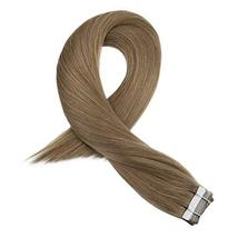 Moresoo 24 Inch Glue in Human Hair Extensions Tape in Human Hair Color Brown Ski image 3