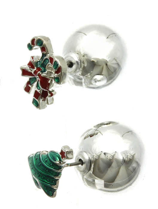 Christmas Tree Candy Cane Bow Double Sided Silver Ball Earrings